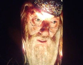 Dumbledore Harry potter inspired decorative wine bottle lamp.