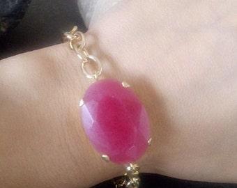 SALE! Fuchsia Pink Chalcedony bracelet, Cherry bangle,Gemstone bracelet, Large stone jewelry,Statement bracelet