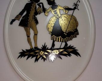 Antique  porcelain wall plate porcelain plate collector white gold Art Nouveau Shadow,Royal pr. Tettau Atelier