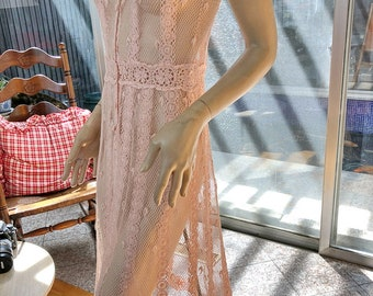 LIM'S Vintage Lovely Intricate and Delicate Hand Crochet Cap Sleeve Dress Color Pink