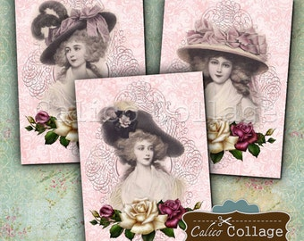 Victorian Ladies Digital Collage Sheet Printables for Earring Cards, Scrapbooking, Decoupage Paper, Jewelry Cards, Paper Crafts, Rose Images