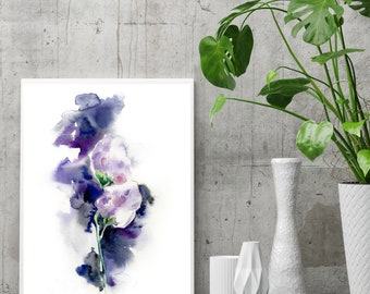 Abstract flowers fine art print, abstract botanical print, wall art print, modern abstract florals, giclee print, watercolor painting art