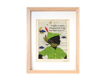 Peter Pan print-Peter and Tinkerbell dictionary print-Nursery print-Peter book art-Christmas gift-Peter dictionary print-NATURA PICTA-DP101