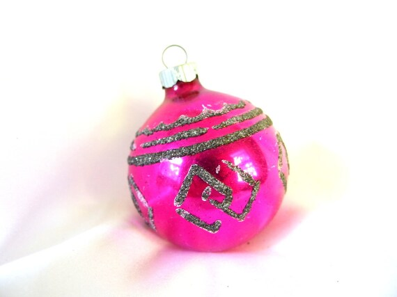vintage shiny brite christmas ornament hot pink with - Vintage Shiny Brite Christmas Ornaments
