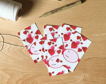 Gift wrapping tags, love tags, red hearts tags, gift tags, valentine tags, gift wrapping accessory, hang tags, paper tags, decorative tags