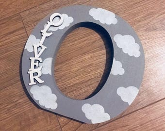 Wooden Name Letter - Wooden Initials - Nursery Letters - Painted Letters - Baby Gifts - Shelf Letter - Shelf Sitter - Nursery Decor - Clouds