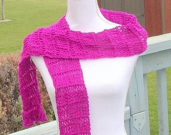 Gift For Her, Womens Scarf, Pink Scarf, Long Scarf, Lightweight Scarf, Fuscia Pink Scarf