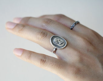 cameo ring, intaglio ring, woman cameo ring, cameo sterling silver ring, vintage  silver ring