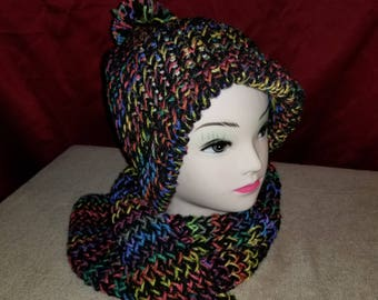 Neon knit hat and scarf set