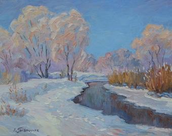 Original White Frost. Winter Signed Landscape Oil Painting Impressionism ART