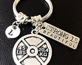 Fitness Keychain. Crossfit Keychain. Strong is Beautiful Keychain Lifting Dumbbell Weightliftng Stainless steel key ring Gift For Her