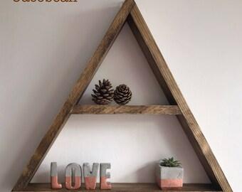 X Large Triangle shelf, floating triangle shelf , triangle wall shelf, brown shelf, wood triangle, display shelf, modular shelf