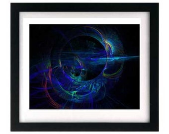 Cold Steel - Black Blue Sci-Fi Art Print - Signed by Artist