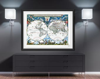 Ancient world map etsy world map wall art 1760 dorm decor worldmap poster travel gift father gift art print large wall art ancient antique vintage retro mappemonde gumiabroncs Gallery