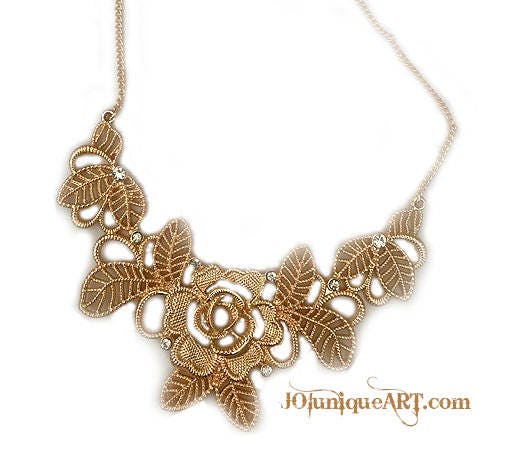 Necklace Gold Flowers Gradient Crystal Flower NecklaceWedding