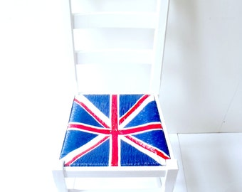 MADE to ORDER Chair, wood and wicker LONDON -Union Jack- Upcycled wooden chair, red, blue, white, handpainted by SophieLDesign