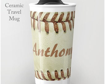 Baseball Travel Tumbler-Ceramic Travel Tumbler-Coffee Tumbler-Ceramic Mug-12 oz Travel Tumbler-Baseball Tumbler-Insulated Travel Tumbler