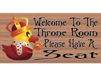 Bathroom Wood Signs  Welcome To The Throne GS738 Rubber Ducky Bathroom Sign    Bathroom Decor