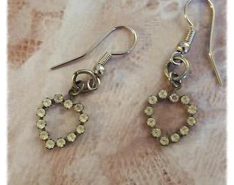 Vintage Silver Rhinestone Hearts Assemblage Earrings, Mother's Day Gifts, Repurposed and Upcycled Jewelry by Simply the Glitter