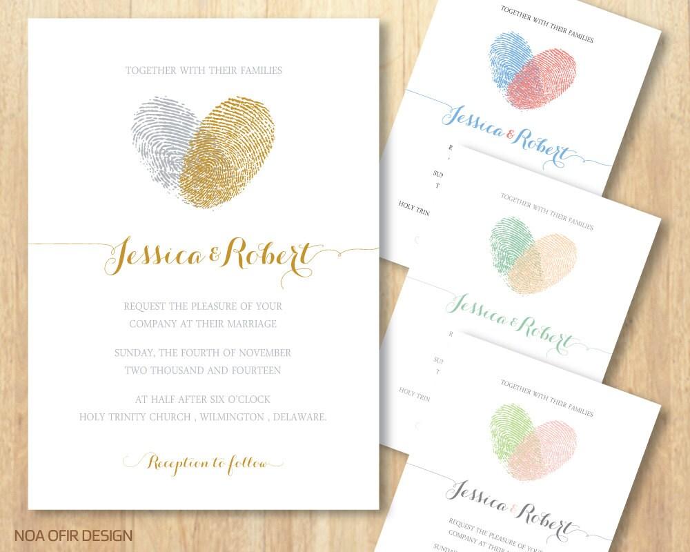 Fingerprint Wedding Invitation Heart Wedding Invitation