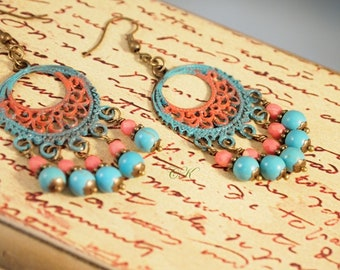 Long Southwestern Chandelier Earrings Bohemian Style Earrings Beaded Chandelier Pierced-Clip-on Earrings Gatsby Earrings Sundance Style