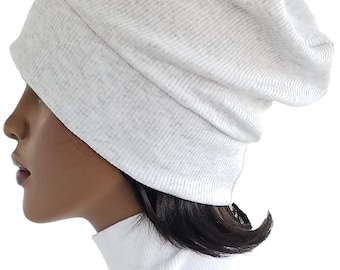 Slouch Mütze leicht grau Beanie Mütze Chemo Mütze Stirnband gerippten Baumwolle Strick Turban handgefertigt