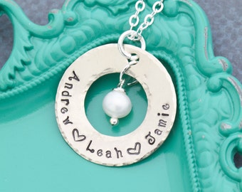 Mother Necklace • Kid Names Necklace Mom Birthday Gift for Her • Handstamped Mom Gift Mother Jewelry •Name Custom Pearl Necklace