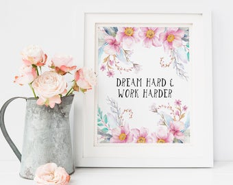 Quote Prints, Simple Quote Print, Custom Poem Print, Floral Print, Watercolor Print, Floral Wall Art, Flower Clipart, Typography Print Quote