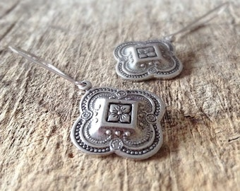 CLEARANCE, Quatrefoil Earrings, Drop Earrings, Moroccan Earrings, Antique Silver Earrings, Bohemian Earrings, Bohemian Jewelry, 26mm Charm