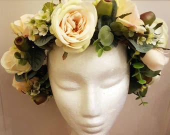 5 Mini Cream Roses Artificial Hair Flower Pins Made in UK LYJcjFC