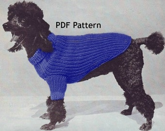 Dog Knit Sweater Pattern, Dog Coat,  Pet Jacket in 3 Sizes, Puppy Accessories, Turtleneck, Vintage 1956, PDF Instant, Digital Download