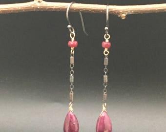 Long teardrop Ruby earrings, oxidized silver barrel chain, Ruby rondelles, 14k gold fill, earrings under 100