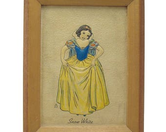 Snow White Embossed Walt Disney Enterprise Picture and Frame - 1930's