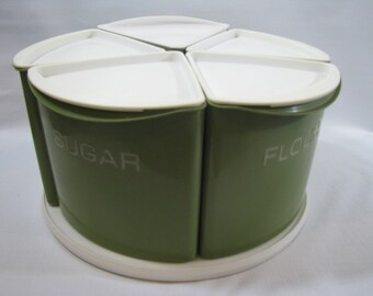 Vintage Rubbermaid Avocado Green Plastic Wedge Canister Set Lazy Susan Turn Table