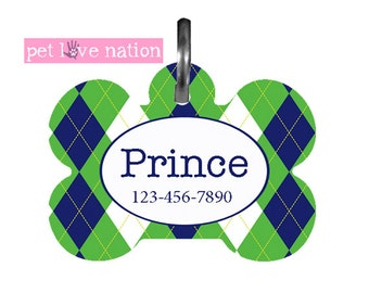 Personalized Pet Tag, Dog Tag, ID Tag, Green And Blue Big Argyle Pet Tag With Name And Phone Number -  #31