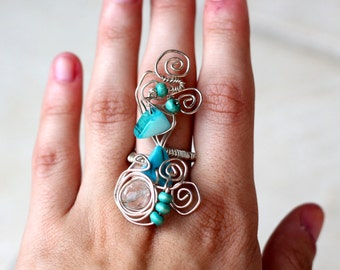 Blue Wire ring Silver plated wire ring Boho ring Elegant ring Big statement ring Adjustable wire wrapped ring Statement Blue stones ring