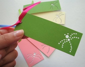 Spring Dragonfly Bookmark Favor Tags - Set of Six (6) Custom Logo Mini Art Cards - DDOTS Spring Baby Shower Baptism First Communion Wedding
