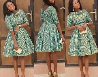 African Print Pleated Dress with Dual Neckline, African Flare Dress, African Short Dress,  African Dress