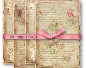 Shabby Floral French Ephemera Digital Collage Sheet Download -842- Digital Paper - Instant Download Printables