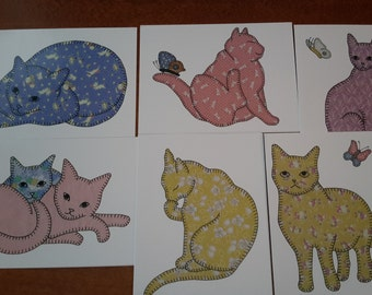 Note Cards -- Cat Cards, Blank on Inside -- Pack of 6, all Different -- Thank You Cards, Greeting Cards -- All Occasion Blank Notecards