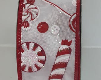 1.5 Inch Red White Candy Ribbon RG1863W7, Deco Mesh Supplies