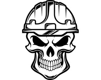 Construction Skull #2 Helmet Hard Hat Tool Toolbox Handyman Mechanic Work Worker Build Fix Repair Logo .SVG PNG Vector Cricut Cut Cutting