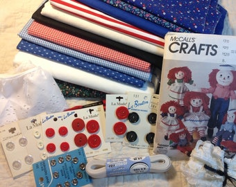 McCalls Craft Pattern  5499 with fabric and notions for Raggedy Ann Doll, 6 + yards fabric, buttons, lace, elastic, Rick rack