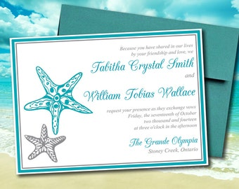 "Beach Wedding Invitation Template ""Blissful Starfish"" Invitation Ocean Silver - DIY Wedding Template Printable Wedding Invitation"