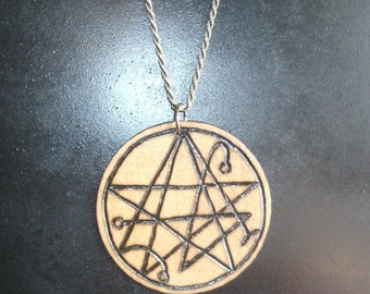 2 Inch Necronomicon Sigil Pendant (Pyrography) You Pick the Color, Free US Shipping (Chain Not Included)