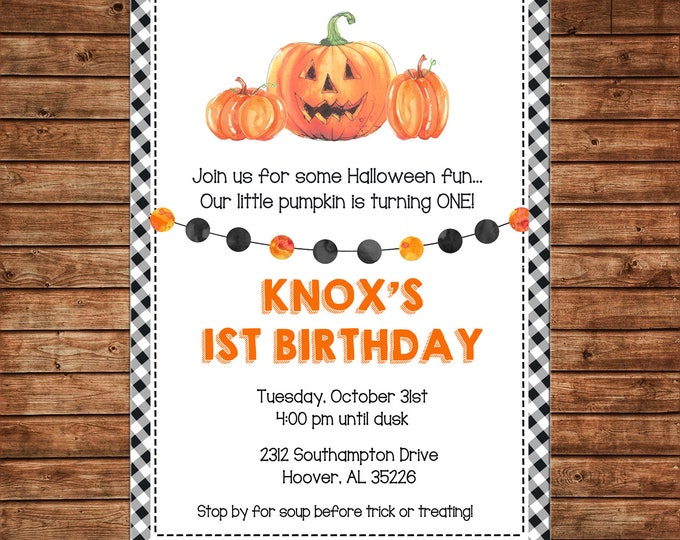 Boy or Girl Invitation Pumpkin Halloween Baby Shower Birthday Party - Can personalize colors /wording - Printable File or Printed Cards