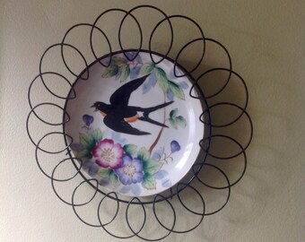 Hand painted Bird Plate.....Black wire border....Relco...Japan .....vintage...ceramic