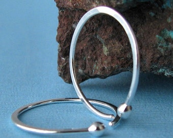 18g Hammered Ball Hoop Earrings, Fine Silver Sleepers, 20mm OD Open style