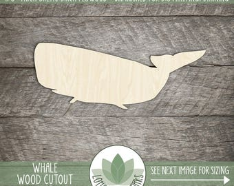 Wood Whale Shape, Unfinished Wood Whale Laser Cut Shape, DIY Craft Supply, Many Size Options, Blank Wood Shapes