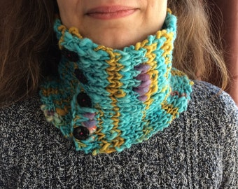 Handknit Cozy Cowl with Vintage Buttons